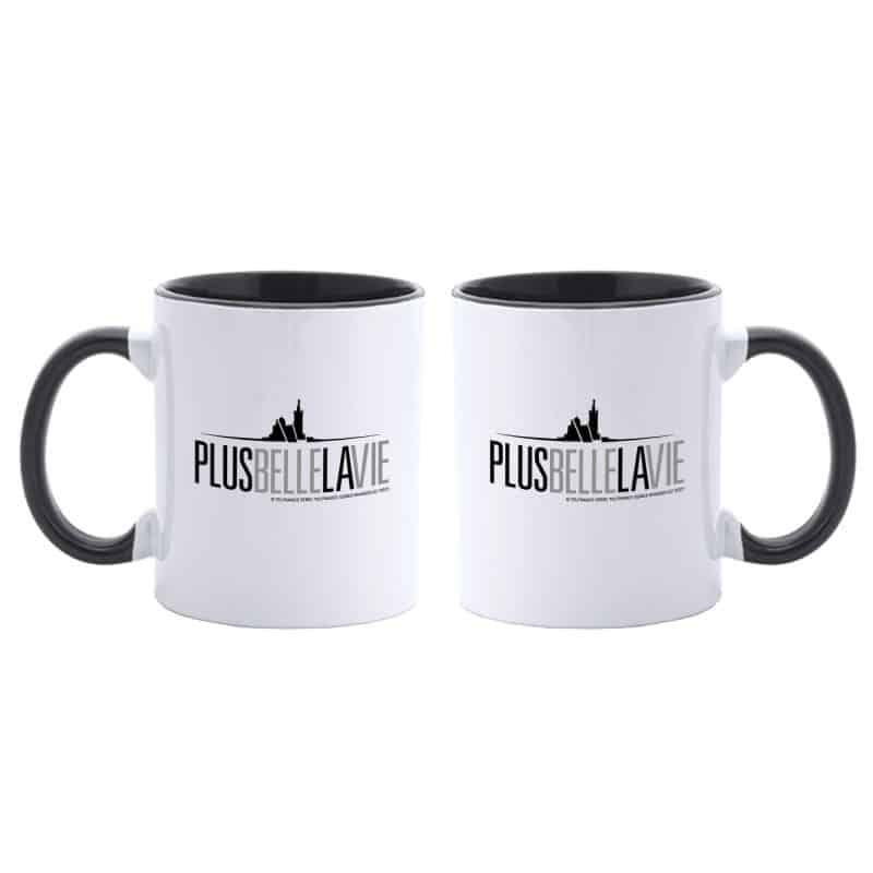 Mug Bicolore Plus Belle La Vie BLANC NOIR Logo Gris