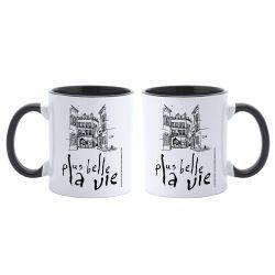 Mug Bicolore Plus Belle La Vie BLANC NOIR Logo Vintage