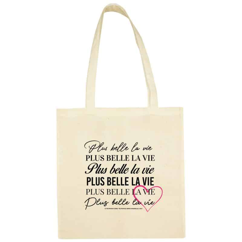 Sac Shopping Plus Belle la Vie BLANC Typo Cœur Rose
