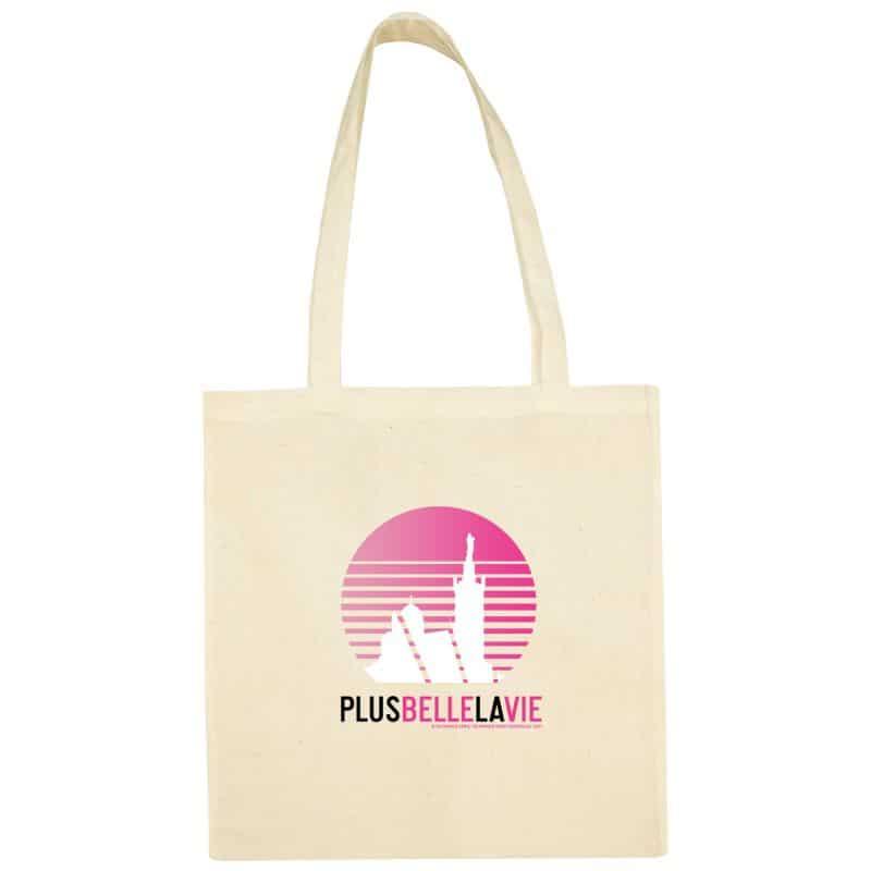 Sac Shopping Plus Belle la Vie ECRU Logo Soleil Degrade Rose