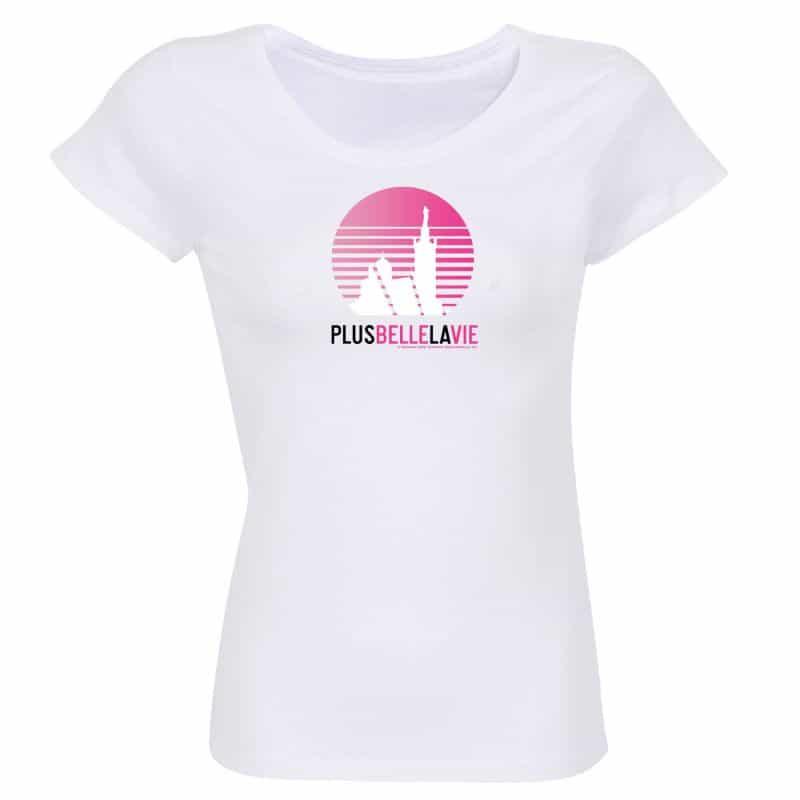 T-shirt Femme Plus Belle La Vie BLANC Logo Soleil Degrade Rose