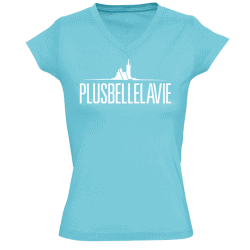 T-shirt femme Logo Col V Bleu Atoll Plus Belle La Vie