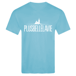 T-shirt Logo Col V Bleu Plus Belle La Vie