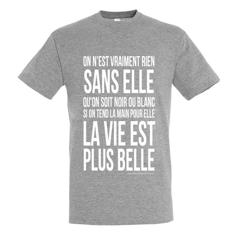 T-shirt Generique Gris Chiné Plus Belle La Vie